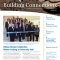 Front cover of Building Connections newsletter shows the ribbon cutting of University Hall